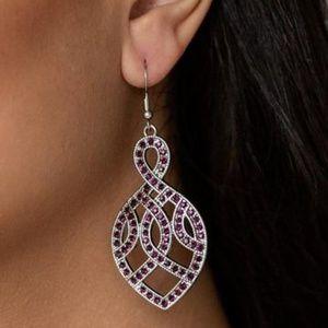 Paparazzi A Grand Statement Purple Earrings